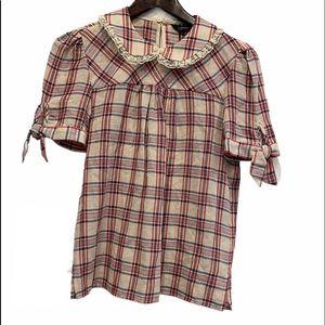 ZARA Peter Pan Collar Checked Shirt Size XS NWOT